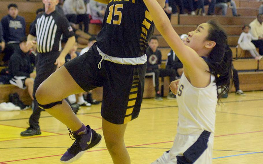 """Kadena sophomore Kyleigh Wright """"did an excellent job of taking some of that leadership"""" for the Panthers after their senior guard Atiria Simms aggravated a left-knee injury during Saturday's game in the Taipei Basketball Exchange. The Panthers lost both of their games."""