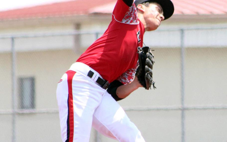 E.J. King baseball, with its junior right-hander Leo Schinker, is one of the teams affected by DODEA-Japan's decision to cancel all activities, including sports, through the end of March.