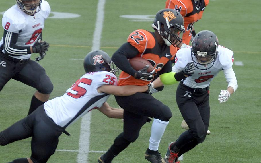 Running back Deirre Lismon and the Hansen Outlaws were leading the regular season at 3-0 when play in the U.S. Forces Japan-American Football League regular season was suspended due to coronavirus concerns.