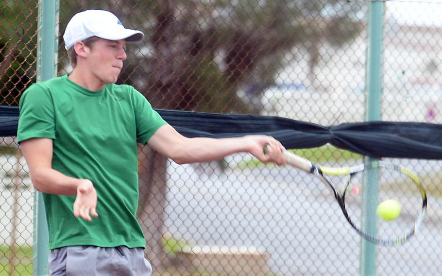 """Kubasaki senior Aden Leggio had improved his doubles game during the offseason, teammate Kai Grubbs said, which would have made the upcoming Okinawa tennis season """"way better"""" than with just singles."""