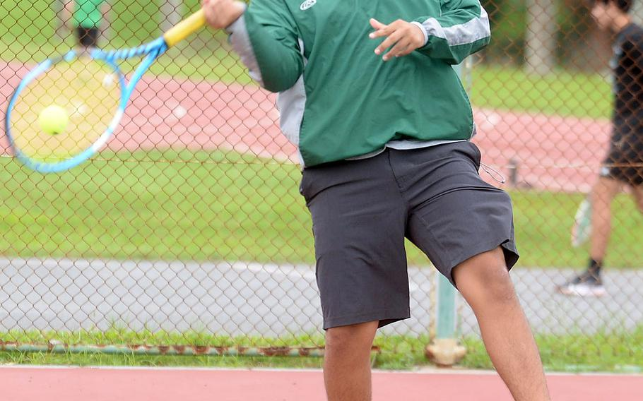 For Kubasaki's No. 1 boys singles tennis seed Kai Grubbs, a return to the courts was greeted with mixed emotions. While happy to be playing, he felt Kubasaki could have done well in doubles and not just limited to singles.