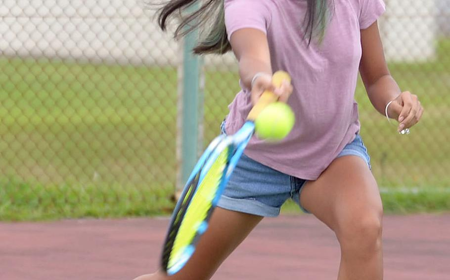 Natalie Oboza is one of several seniors in Kubasaki's tennis lineup.