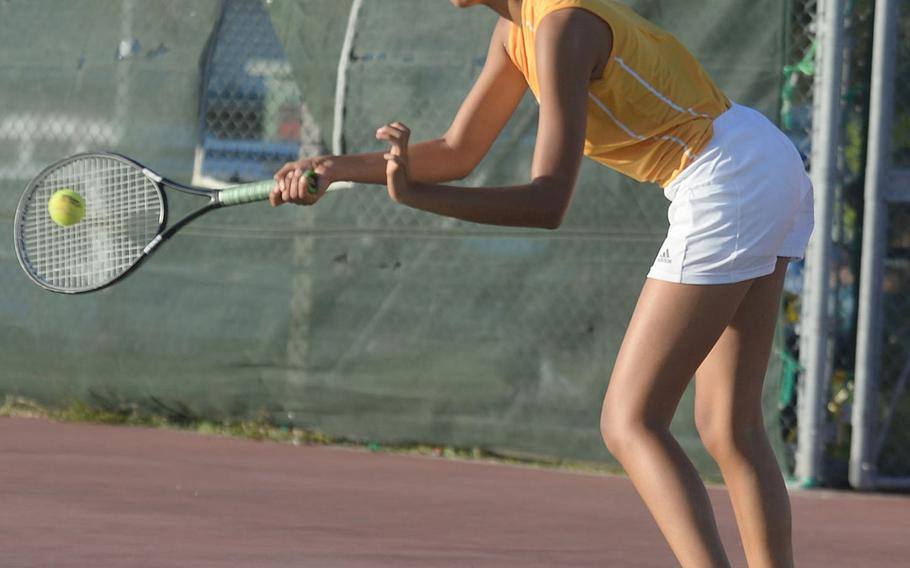 Kadena's Christine Ryan is one of three players still alive in the knockout bracket of the Okinawa district singles double-elimination tennis tournament.