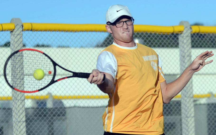 Kadena's R.J. Smola is one of three players still alive in the knockout bracket of the Okinawa district singles double-elimination tennis tournament.
