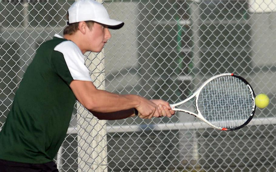 Kubasaki's Henry Ruksc is one of three players still alive in the knockout bracket of the Okinawa district singles double-elimination tennis tournament.