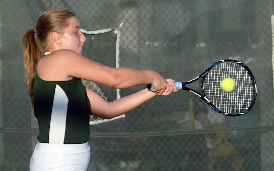 Kubasaki's Willow Lewis won her only match on Monday and enters Wednesday's final day of play in the Okinawa district tennis singles double-elimination tournament as the lone unbeaten in the championship bracket.