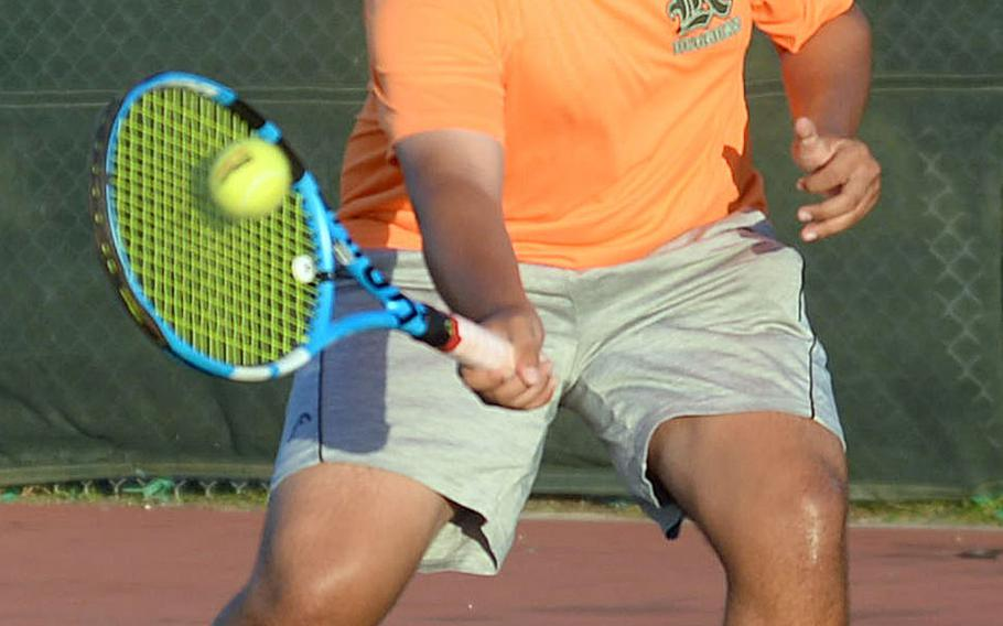 Kubasaki's Kai Grubbs won his lone match on Monday and enters Wednesday's final day of play in the Okinawa district tennis singles double-elimination tournament as the lone unbeaten in the championship bracket.