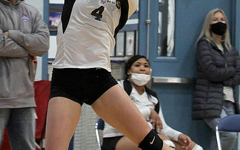Humphreys' Zoe Weidley bumps against Osan during Wednesday's DODEA-Korea volleyball match. Osan's Black team swept Humphreys' Gold and Black teams in two three-set matches.