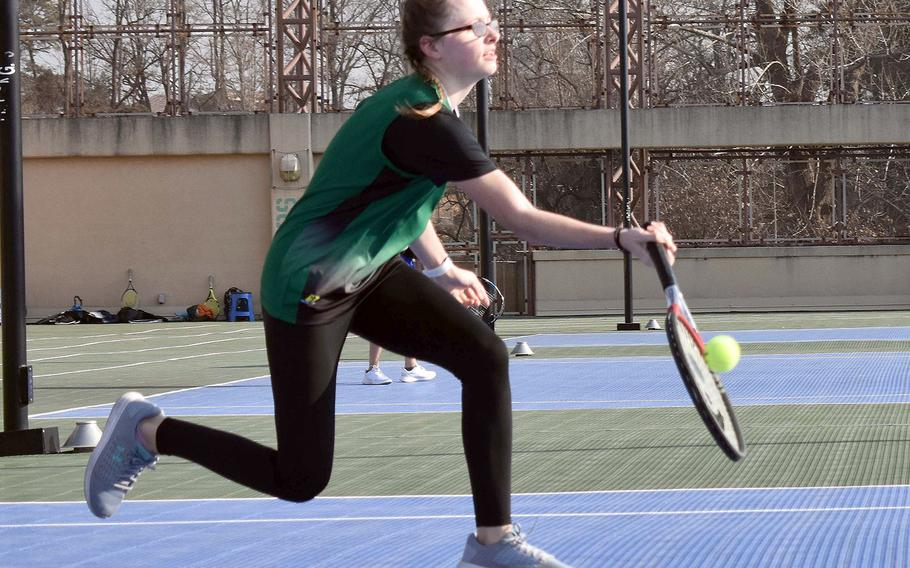 Ella Sims and Daegu were slated to play in Wednesday's DODEA-Korea district tennis finals, which were canceled due to a forecast of cold weather.