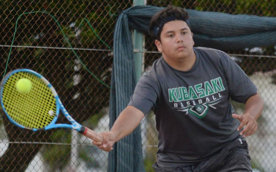 Kubasaki's baseball team didn't play in the spring due to concerns of spreading the coronavirus. But Kai Grubbs showed some love during the tennis season in the fall and won the Okinawa district singles title.
