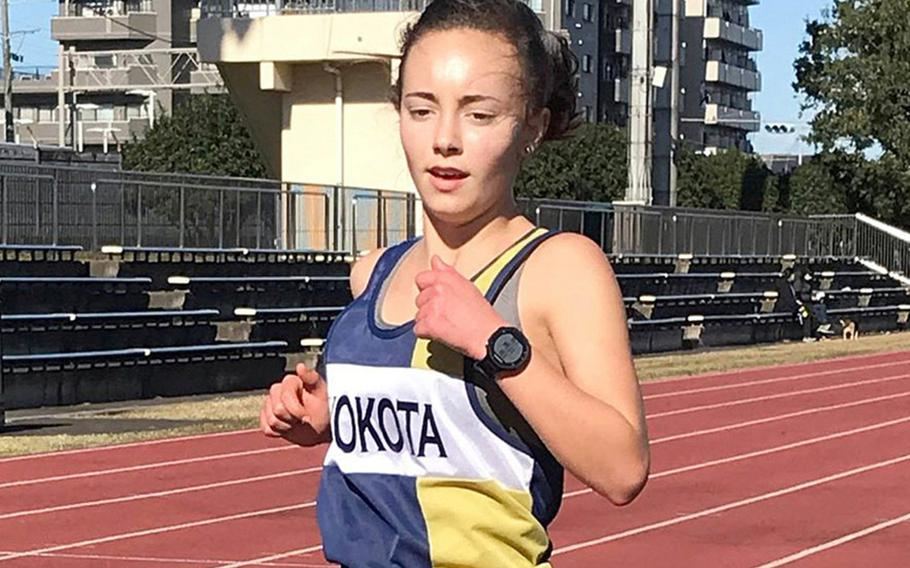 Yokota sophomore Reagan Cheramie won the Far East cross country meet girls Division II title and posted the best time overall, 19 minutes, 10 seconds. She's projected to run distance events for Yokota in the virtual Far East track and field meet.