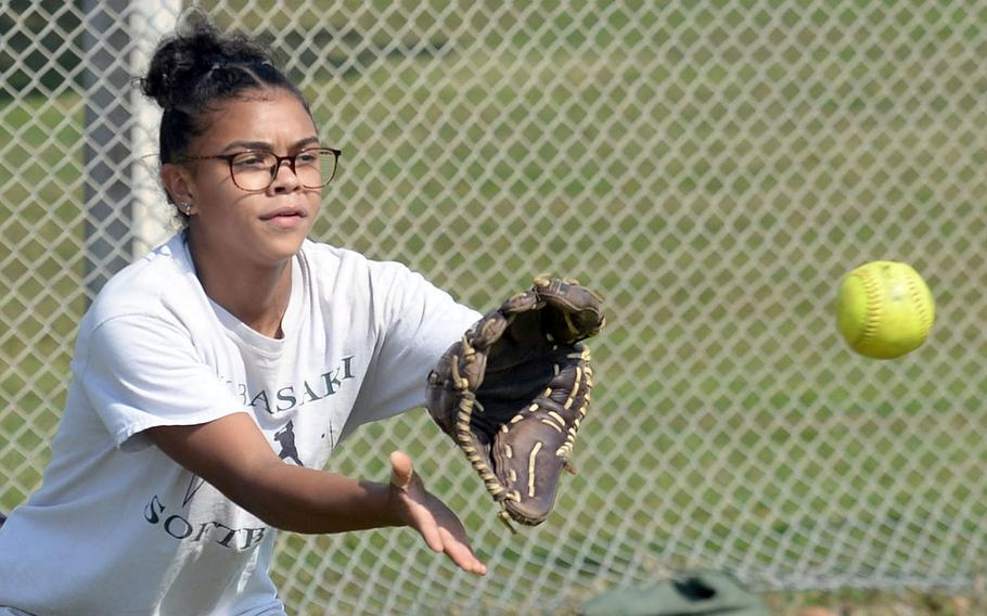 """Senior McKayla Paine is one of two returning starters from the 2019 Kubasaki softball lineup. Given the fact that Okinawa schools were in remote learning early in the school year, she said she was """"totally prepared"""" to not have a softball season."""