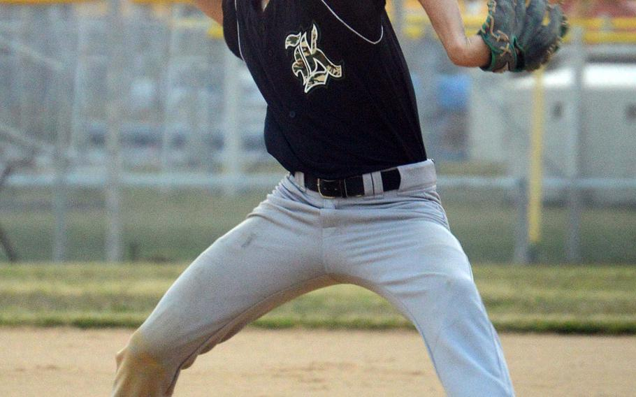 Kubasaki's Nick Patton delivers against Kadena during Tuesday's season-opening Okinawa baseball game. The Panthers won 8-7. Patton exited after five innings with a 7-4 lead and did not figure in the decision.
