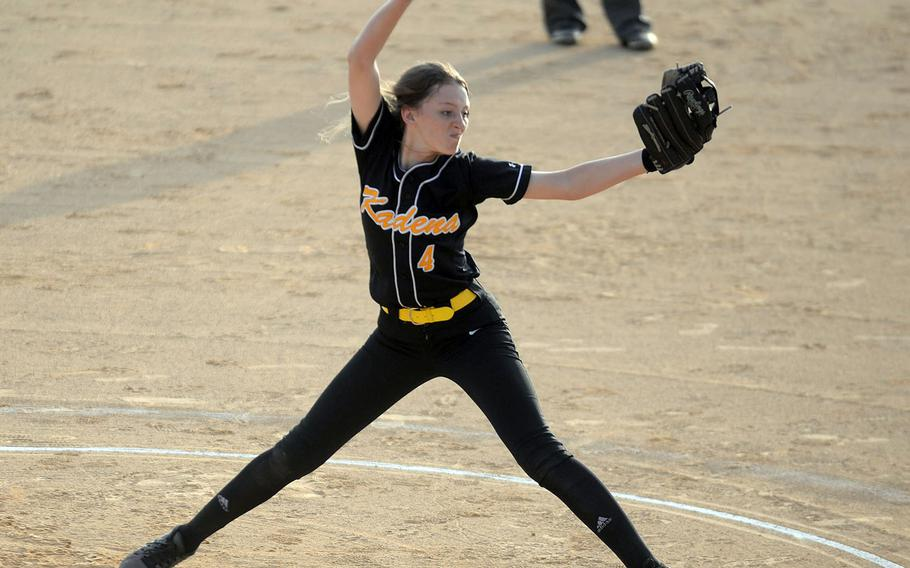 Kadena right-hander Renee Roberts-Kelly delivers against Kubasaki during Wednesday's season-opening Okinawa softball game. Roberts-Kelly scattered four hits, walked one and struck out four as the Panthers beat the Dragons 13-4.