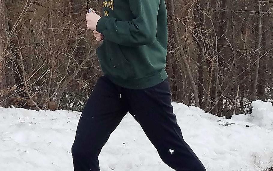 Robert D. Edgren junior Morgan Erler, who came in second overall in the virtual Far East cross country meet in January with a time of 19 minutes, 37 seconds, is projected to run distance events for Eagles track and field.