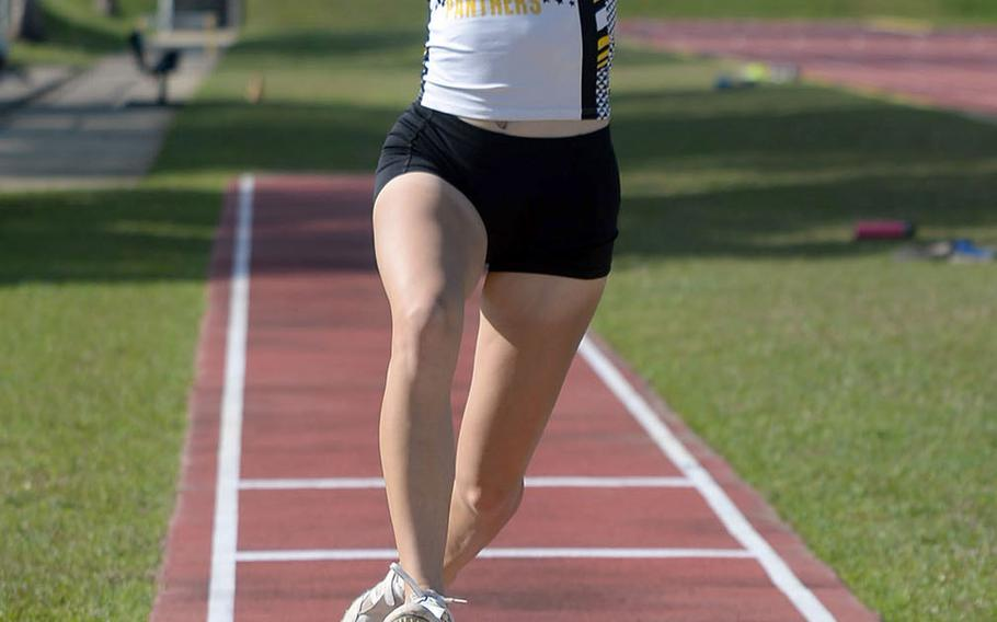 Kadena junior Grace Carey is trying her hand at triple jump, added for this season by DODEA-Pacific. Carey last did triple at Randolph High School in San Antonio.