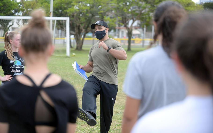 New Kubasaki girls coach Matt McConnell and the Dragons hope to get their kicks in an Okinawa soccer season that includes only matches against Kadena and no Far East tournament at the end.