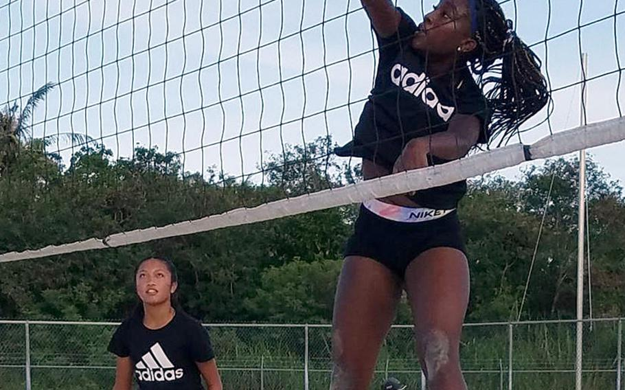 Guam High's Kamryn Thompson sends one over the net after a pass from Jada Alcantara during the Panthers' two-set win over Harvest Christian Academy in the island playoffs' knockout round.