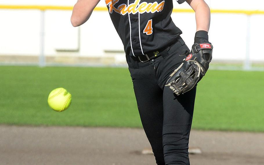 Kadena right-hander Renee Roberts-Kelly delivers against Kubasaki during Wednesday's Okinawa softball game. Roberts-Kelly scattered eight hits and struck out four and the Panthers won 5-4.