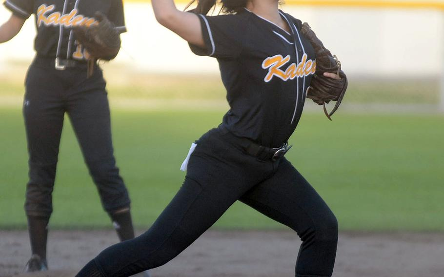Kadena shortstop Sophia Ikeda fires to first base against Kubasaki during Wednesday's Okinawa softball game. The Panthers won 5-4.