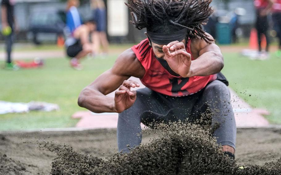 """Nile C. Kinnick's William """"Tre"""" Bennett captured the boys long jump with a leap of 5.24 meters during Saturday's DODEA-Kanto track and field meet at Yokota."""