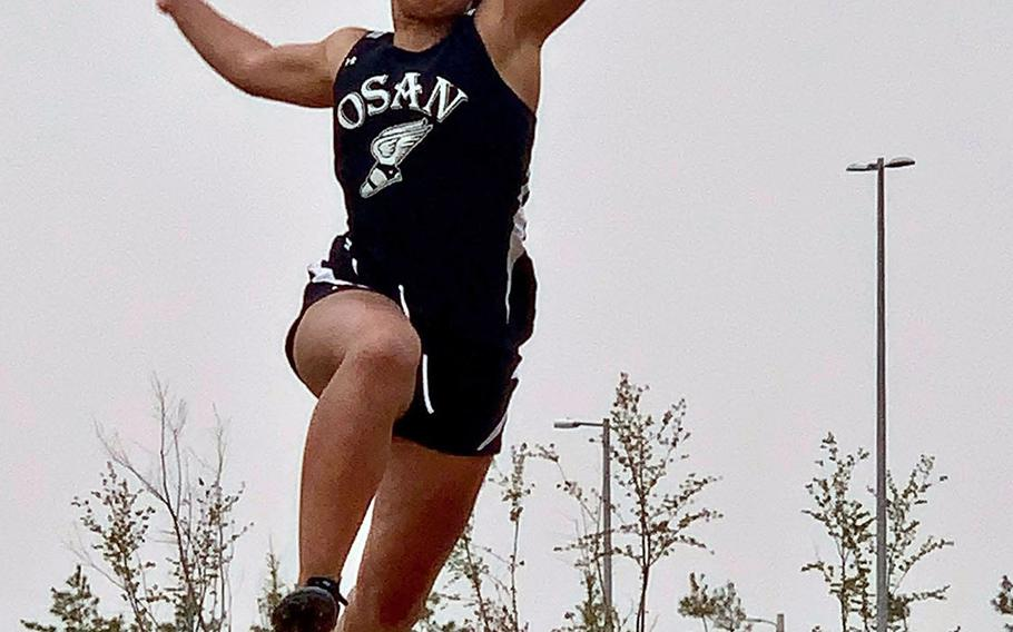 Osan freshman Alexis Jeffress won the girls long and triple jumps and 300 hurdles during Saturday's DODEA-Korea track and field finals.