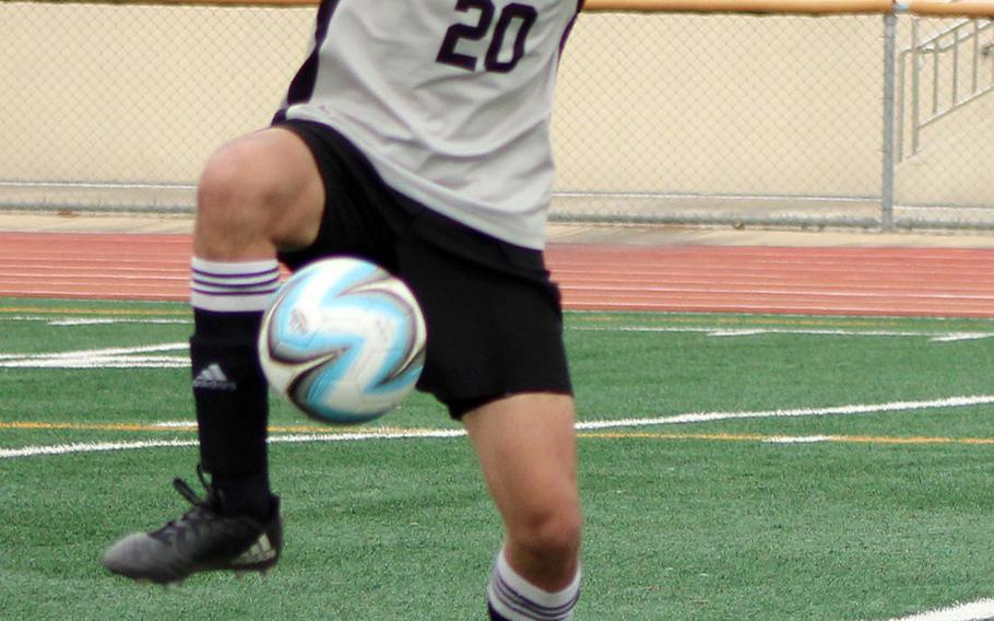 Humphreys' James May tries to settle the ball during Saturday's DODEA-Korea boys soccer match. May scored two times as the Blackhawks blanked Daegu 7-0.