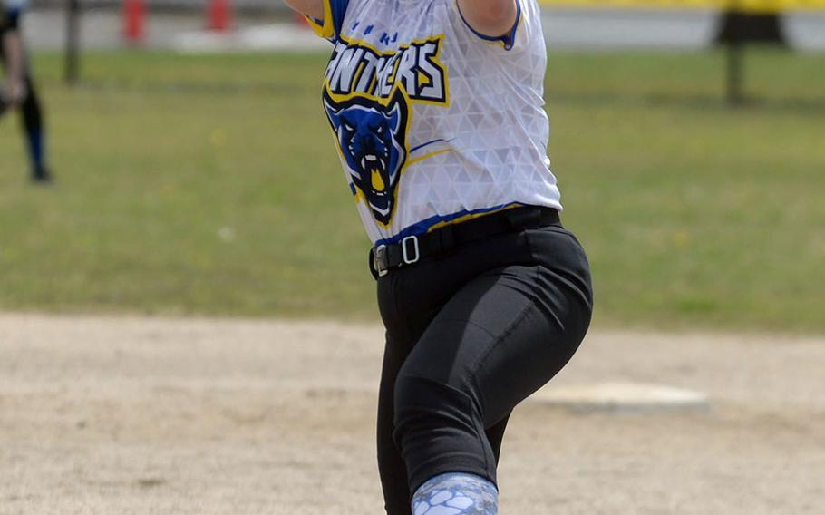 Yokota right-hander Aki Diehl kicks and delivers against Robert D. Edgren during Saturday's DODEA-Japan softball game. The Panthers swept the two-game set from the Eagles 20-0 and 36-6.