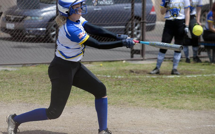 Yokota's Marilyn Fresquez drives the ball against Robert D. Edgren during Saturday's DODEA-Japan softball game. The Panthers swept the two-game set from the Eagles 20-0 and 36-6.