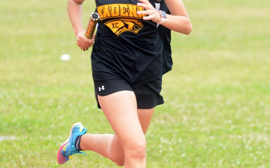 Kadena's Karise Johnson, the reigning Far East D-I cross country champion, took first in the girls D-I 1,600 in the Far East virtual track and field meet.