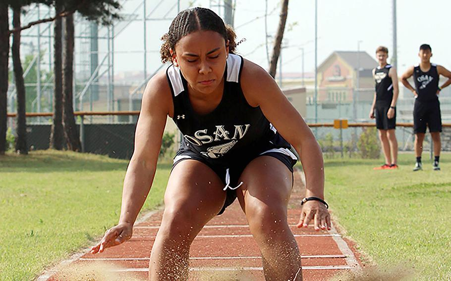 Osan's Alexis Jeffress won the girls D-II triple jump, the first time the event was on the Far East meet program.