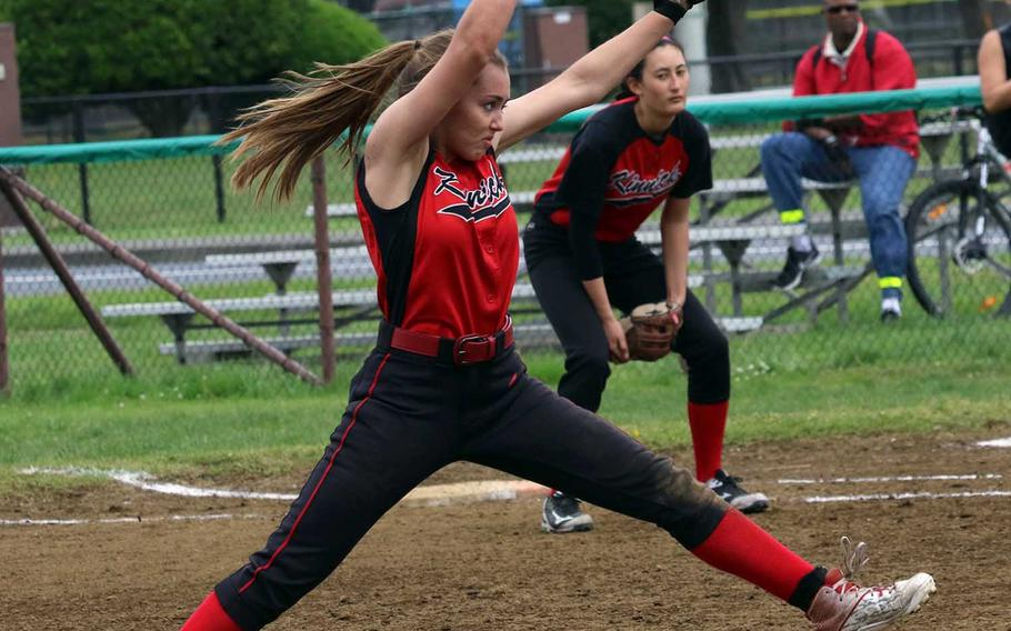 Nile C. Kinnick's Kim Nelson delivers against Zama American during Friday's single-elimination playoff game in the DODEA Japan softball tournament. The Red Devils lost to the Trojans 16-3.