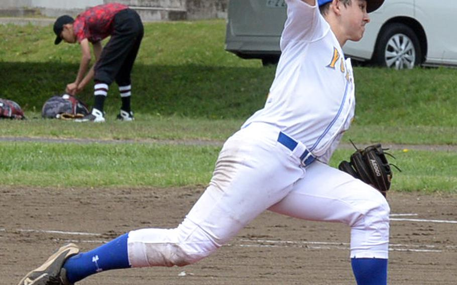 Yokota right-handed reliever Sean Caffrey delivers against Nile C. Kinnick during Friday's round-robin game in the DODEA Japan baseball tournament. Caffrey got the save as the Panthers edged the Red Devils 3-2.
