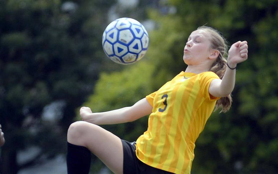 Robert D. Edgren senior striker Isabelle Pummill scored three goals during Saturday's DODEA-Japan girls soccer matches at Yokota. The Eagles won the opener 3-1 and the Panthers the nightcap 5-1.