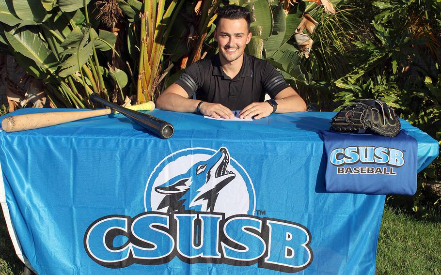 Former Matthew C. Perry star pitcher-catcher Garrett Macias has committed to NCAA Division II Cal State-San Bernardino for the 2022 college baseball season, after hopping around from D-II Concordia (Calif.) and Chaffey College of California.
