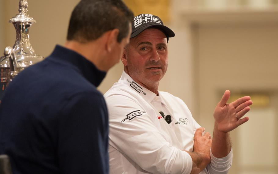 Golf pro Rocco Mediate talks during a press conference for the 2017 Senior PGA tournament on Thursday, March 9 2017. Military servicemembers and veterans will be able to attend the tournament, free of charge, when it is held at the Trump National Golf Club in Potomac Falls, Virginia, on May 25-28.