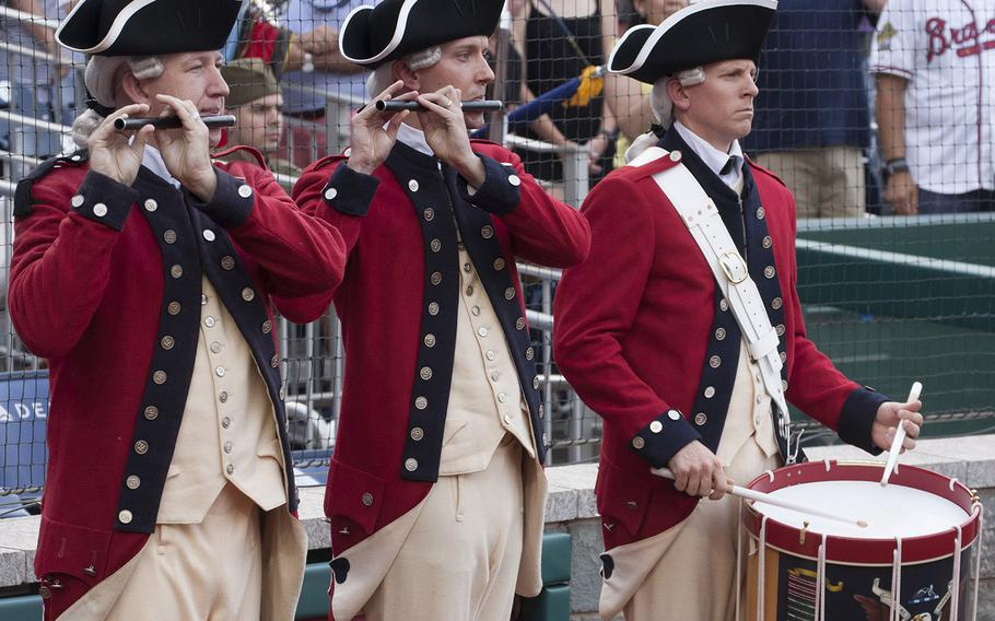 The U.S. Army Old Guard Fife and Drum Corps performs on U.S. Army Day at Nationals Park in Washington, D.C., June 12, 2017.