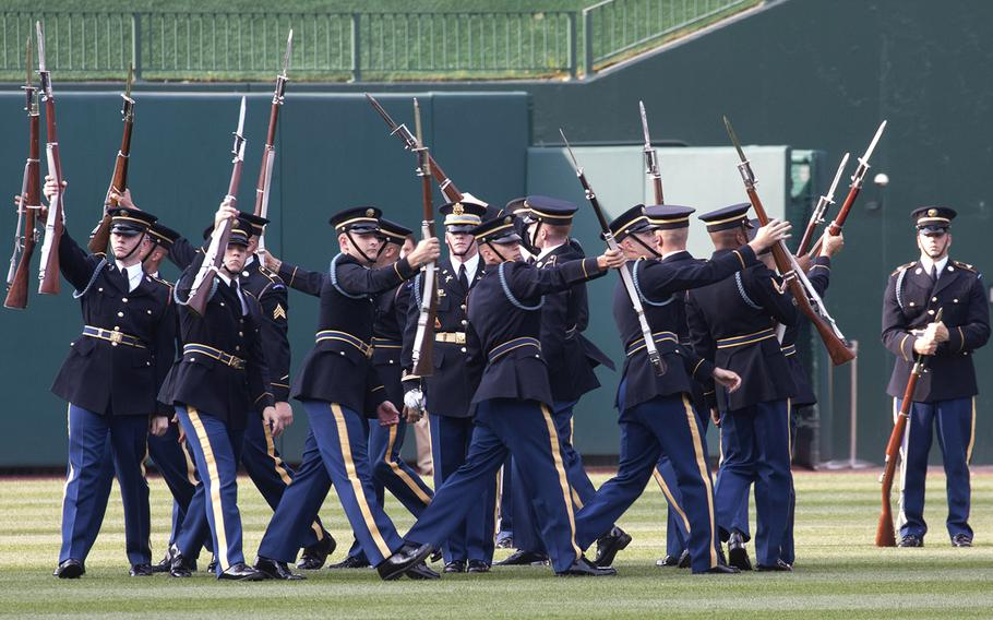 The U.S. Army Drill Team performs in center field on U.S. Army Day at Nationals Park in Washington, D.C., June 12, 2017.