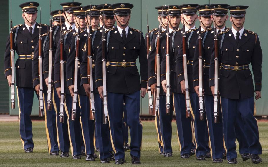 The U.S. Army Drill Team prepares to perform in center field before the game between the Washington Nationals and Atlanta Braves on U.S. Army Day at Nationals Park in Washington, D.C., June 12, 2017.