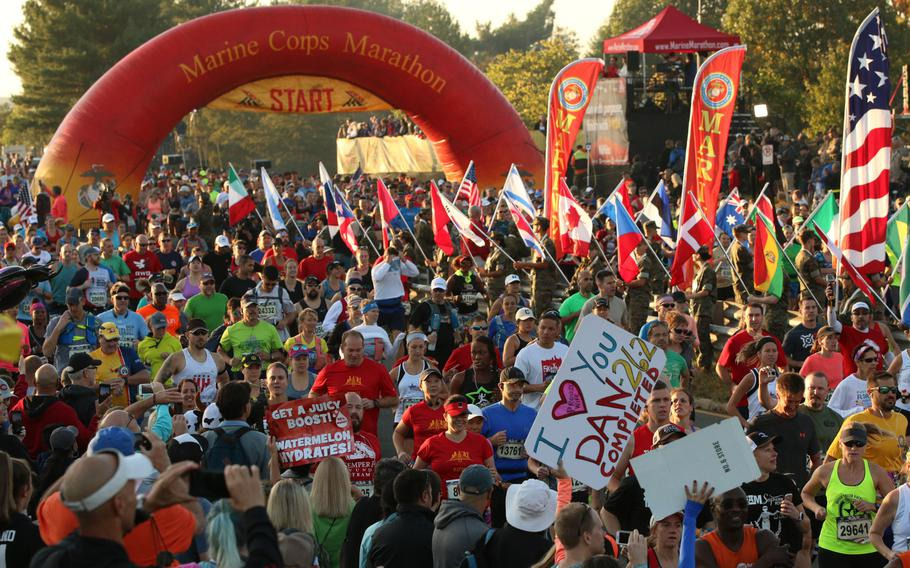 Roughly 30,000 runners turned up to run the 26.2-mile-long course through Washington, D.C., that makes up the Marine Corps Marathon, held on Oct. 22, 2017.