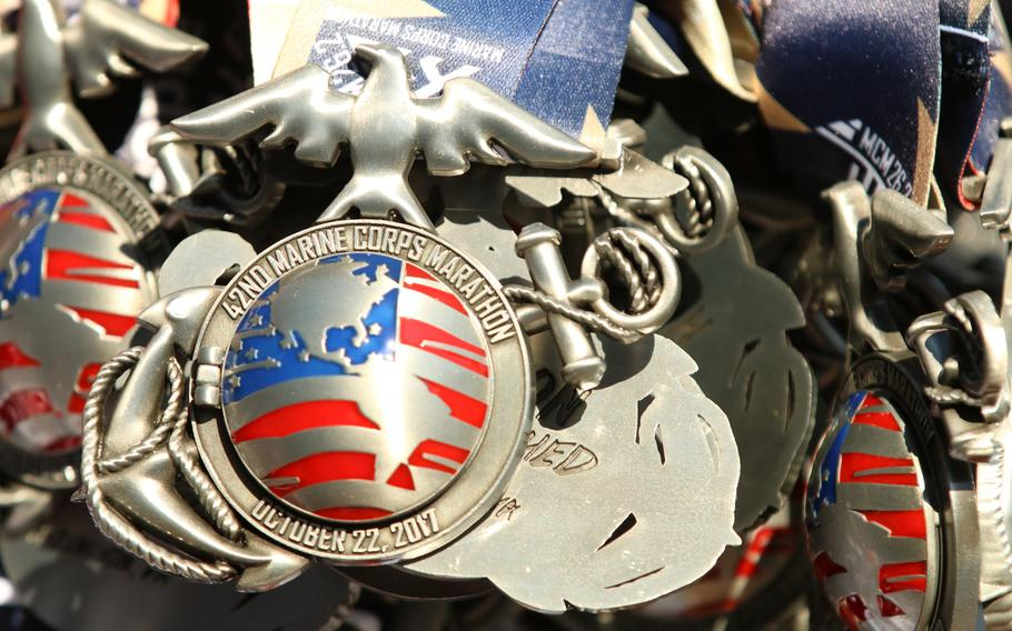 Volunteers handed out thousands upon thousands of these medals to finishers of the 42nd Marine Corps Marathon, held in Washington, D.C., on Oct. 22, 2017.