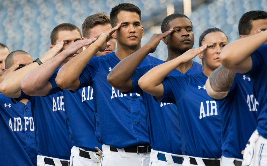 Air Force faced off against Army in the 2018 Armed Forces Classic, a co-ed softball game held at Nationals Park in Washington on Friday, July 13, 2018. Air Force defeated Army, 9-2.