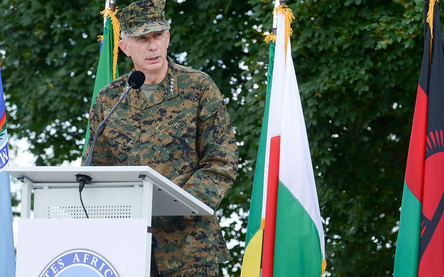 Gen. Thomas Waldhauser speaks after assuming command of U.S. Africa Command during a ceremony at U.S. Army Garrison Stuttgart, Germany, July 18, 2016.