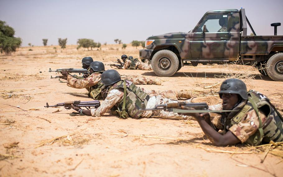 Nigerien soldiers train with the 20th Special Forces Group during Flintlock 2018 in Niger on April 16, 2018.