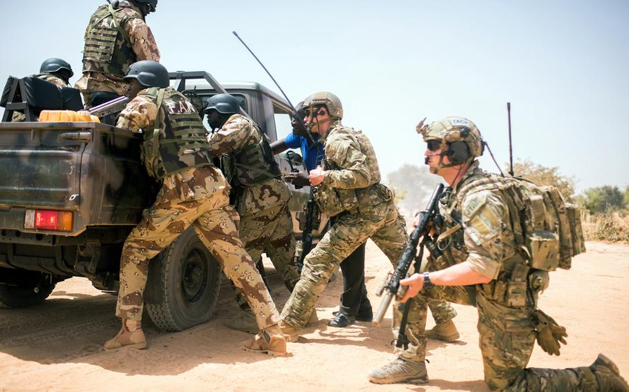 U.S. Special Forces provide guidance to Niger troops during Flintlock 2018. The two-week war game, which ended Friday, was intended to boost combat capabilities of eight African nations taking part in the drills.