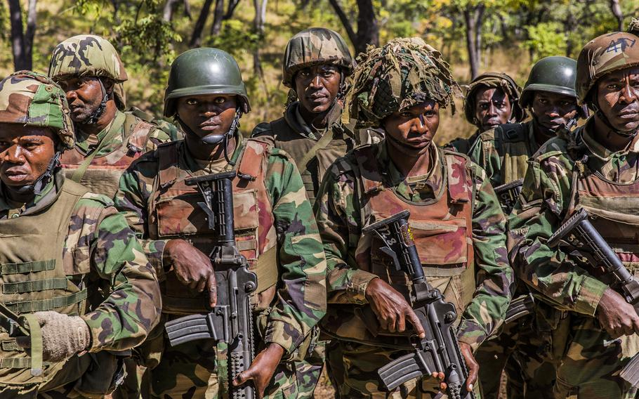 Soldiers from the Malawi Defence Force stand in formation during a graduation ceremony on May 31, 2018. U.S. Africa Command Command is looking to elevate the stature and role of non-commissioned officers and enlisted personnel in African armies.