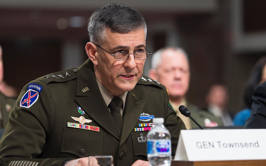Gen. Stephen Townsend, commander of the U.S. Africa Command, testifies during a Senate Armed Services Committee hearing Thursday, Jan. 30, 2020, on Capitol Hill in Washington.