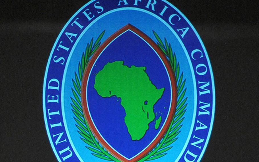 The AFRICOM logo is seen during a ceremony at the City Hall in Sindelfingen near Stuttgart, Germany, on March 9, 2011.