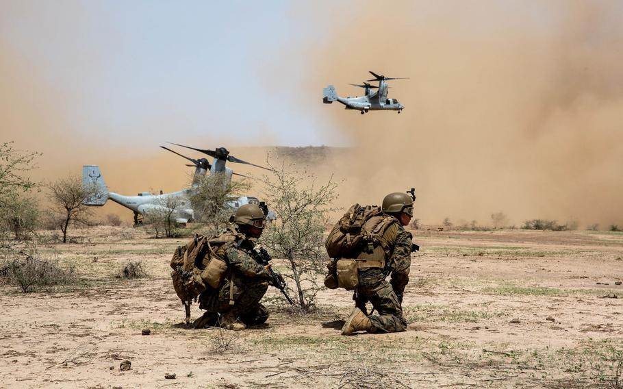 U.S. Marines with Special Purpose Marine Air-Ground Task Force-Crisis Response-Africa 19.2, Marine Forces Europe and Africa, prepare to extract from a landing zone during a quick response force rehearsal in Thiés, Senegal, Aug. 5, 2019. U.S. Africa Command is set to get more money in the 2021 defense budget than the Pentagon requested, to help with casualty evacuations and force protection.