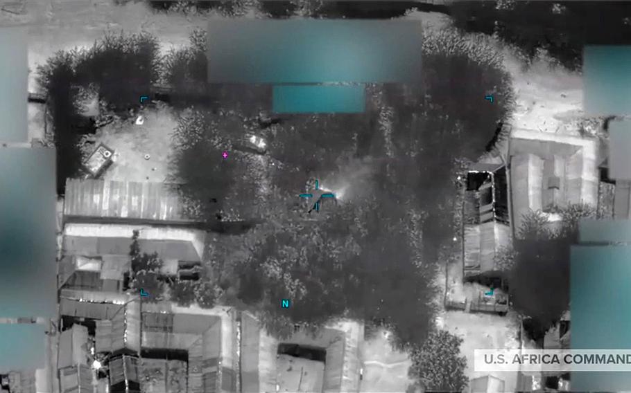 A screenshot from a video released by U.S. Africa Command showing the impact of the airstrikes conducted Dec. 10, 2020, that killed eight al-Shabab bomb makers in the vicinity of Jilib, Somalia.